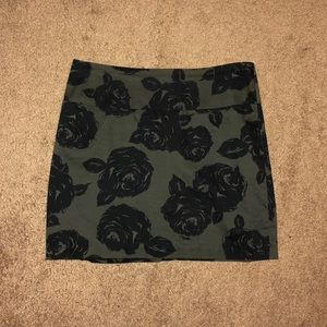 Army Green Floral Mini Skirt
